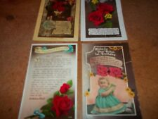 3 x Vintage Happy Birthday rose postcards + the Fragrant Minute 40s / 50s   USED