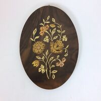 Oval Wood Floral Plaque Artwork Made In Sorrento Italy with Hanger