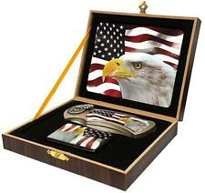EAGLE HEAD USA FLAG KNIFE w OIL LIGHTER IN DISPLAY BOX STEEL KN479 hunting NEW