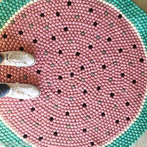 water Melon design Carpet pom Felt Balls Handmade Mat Round childrens Rug