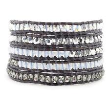 Chan Luu Crystal AB Mix Wrap Bracelet on Natural Grey Leather