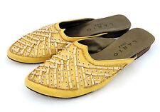 Lario Mules 39,5 39 Pantoufles jaune avec applications