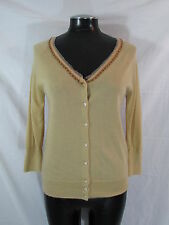 Neiman Marcus Cashmere Sweater M Tan Cardigan Sweater 3/4 Sleeve Knit Top