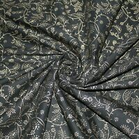 Indian Black Gold 100% Cotton Fabric Floral Hand Block Printed Natural 7 Yards