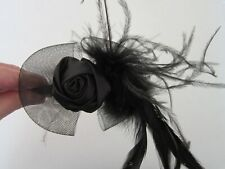 FASCINATOR | Black | Sinamay Feathers | Head Band | Rose | Wedding | Races (19A)