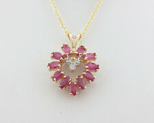 """HEART Natural Rubies Diamonds Solid 14k Yellow Gold Pendant 18"""" Necklace"""