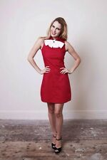 High-end Shift mod Rockabilly PinUp Red Mini 60s 70s Dress 'The Vintage Closet'