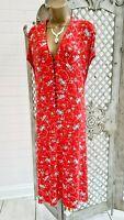 JOE BROWNS 💋 New Soft Red Ditsy Floral Stretch Jersey Tea Dress & Belt UK 32
