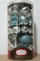 Christmas Vintage Sears Trim A Home 100 Silver Shatterproof Tree Ornament Set