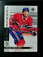 2019-20 SP Hockey SP Rookie Authentics /1199 Ryan Poehling #125 Canadiens RC