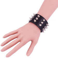 Three Row Spikes Rivet Stud Wide Cuff Faux Leather Punk Gothic Rock Bracelet BH