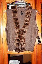Lapis knit faux fur vest NWT Large