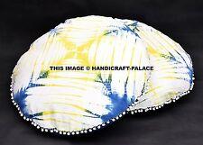 "2 PC Indian Round Mandala Pillows Tie Dye Shibori Floor Cushion Covers Pouf 32"""