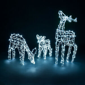 Light Up Reindeer Family Outdoor Christmas Decoration White Wire LED Set Of 3