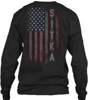 Sitka Family American Flag Gildan Long Sleeve Tee T-Shirt