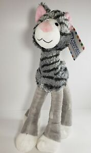 "Melissa & Doug Princess Soft toys Lanky Legs grey striped cat pink nose ears 14"""