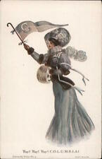 Columbia College Girl R. Hill Postcard Vintage Post Card