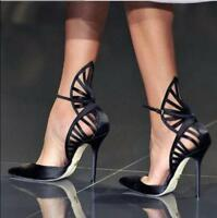 Occident Sexy Womens Black High Heel Stilettos Pointy Toe Hollow Out Shoes 2018