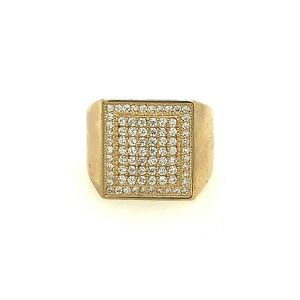 Mens 10kt Gold Square Pinky Ring 1.20ct