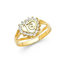 Heart Sweet 16 Ring Solid 14k Yellow Gold Band Birthday CZ Fancy Style Polished