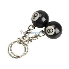 2pcs Billiard Pool Keychain Snooker Table Ball Key Ring Gift Lucky NO.8 VF