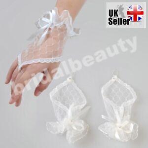 White 1st First Holy Communion Baptism Flower Girls Fingerless Lace Gloves