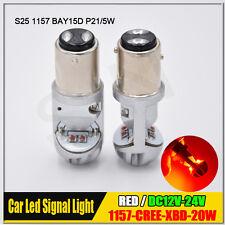 2X Red BAY15D 1157 Car Tail Stop Brake Light CREE 20W Canbus LED Bulb 12V 24V DC