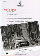 Renault Clio RSi Mk1 Launch Press Release/Photograph - 1993