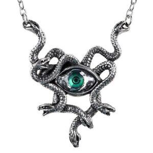 Alchemy Gothic Gorgons Green Eye Stheno Necklace Medusa Snakes Serpents P847 New