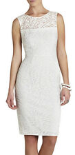 "$298 BCBG OFF WHITE ""ALICE"" SLEEVELESS LACE EMBROIDERED DRESS NWT 10"