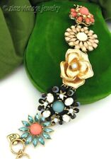 BETSEY JOHNSON Gold aqua Blue rhinestone Coral lucite FLOWER Statement BRACELET