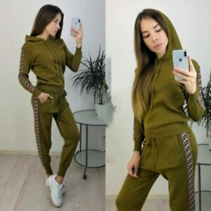 Conjunto Sudadera Con Capucha Y Pantalones Para Mujer 2Pcs Chándal Suéter Casual