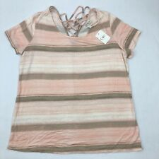 dcd96bc341a Cato Sportswear Plus Shirt 18 20 Short Sleeve Lace up Pink Brown Striped  Peach