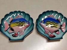Relco Creation Set Of Two Fish In Clamshell 3D Wall Plaques Rare Ceramic Colorfu