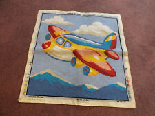 "Needlepoint Sampler Complete Ready to Frame 15.5 x 15.5"" Finished Area AIRPLANE"