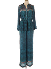Hemant & Nandita Jumpsuit XL 100% Silk Anthropologie Beaded Teal Boho Long Sleev