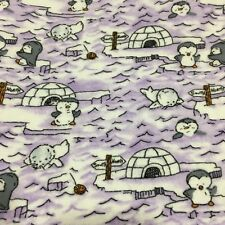 Vintage Baby Blanket Lavender Baby Penguins Seals Igloos Satin Edge Acrylic