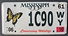 MISSISSIPPI LICENSE PLATE CONSERVING WILDLIFE 1C90WY BUTTERFLY TAGS EMBOSSED
