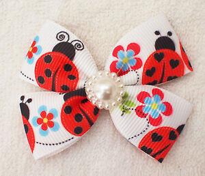 Handmade Girl Kids Children Hair Accessories Ladybird Ribbon Bows Clip Bobble