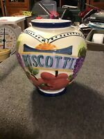 "Hand Painted For Nonni's Ceramic Biscotti Cookie Jar/Canister 12.5"" Tall No Lid"