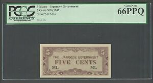 Malaya - Japan 5 Cents ND(1942) PM2a Block ML Uncirculated Grade 66