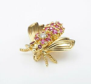 "Tiffany & Co. 18k Gold Pink Sapphire Ruby Diamond Bee Pin Brooch 3/4"" OG315"