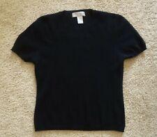 100% Two-Ply Cashmere Black Short-Sleeve Sweater Women's Size Medium Crew Neck