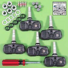 Set of 5 OEM TIRE PRESSURE SENSORS TPMS SERVICE KITS w/ TOOL spare tire SET-TS38