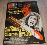 A1 Filmplakat  DAS RÄTSEL DES SILBERBERNEN DREIECK,EDGAR  WALLACE,Heinz Drache