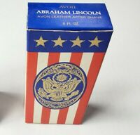 """Vintage Avon Abraham Lincoln """"Leather"""" After Shave Cologne 4 fl oz Full Bottle"""