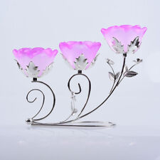 2PCS Flower Crystal Candle Holder Wedding Party Table Tealight Candlestick Gift