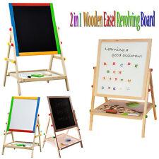 2 in 1 KIDS WOODEN EASEL BLACKBOARD WHITEBOARD CHILDRENS DRAWING ART CHALK BOARD