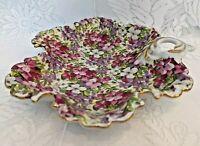 Dish, Handled, Floral Chintz, Flowers, Purple, Pink, Red, Unique Clover Design