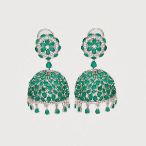 Natural Ceylon Sapphire Jhumka Earrings SilverTone Women Engagement Fine Jewelry